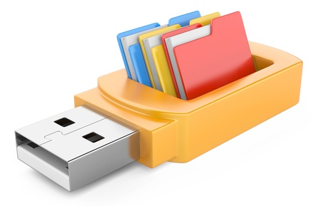 usb flash drive and folders isolated on white background  3d image Archivio Fotografico