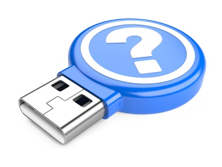 USB Flash Drive with question sign isolated on white background  3d image photo