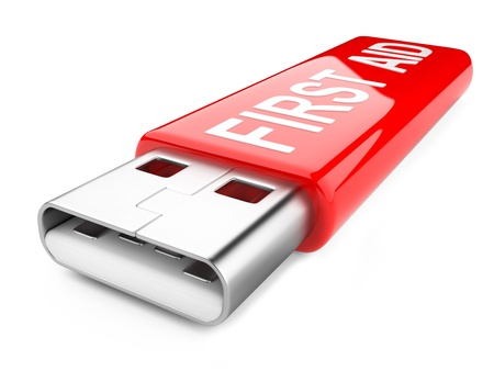 first aid sign: usb flash drive and first aid sign isolated on white background. 3d image Stock Photo