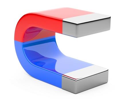 polarity: Horseshoe magnet isolated on white background Stock Photo