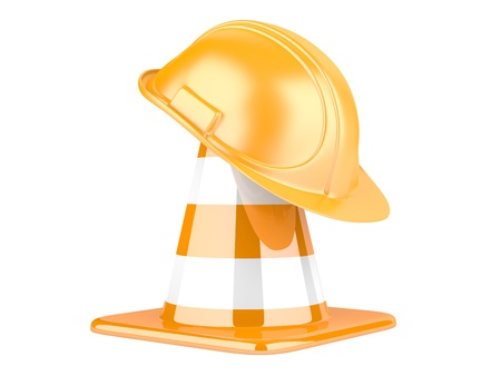 Traffic cones and helmet. Icon isolated on white background photo