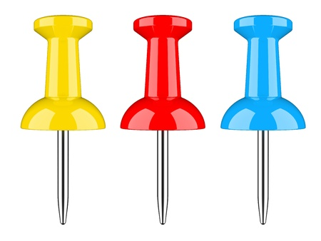 push pin: Color push pin isolated on a white background  3d image
