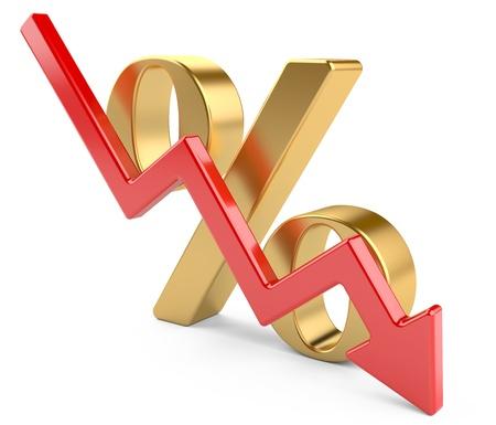 símbolo de porcentaje rojo con una flecha hacia abajo 3d aislado en un blanco