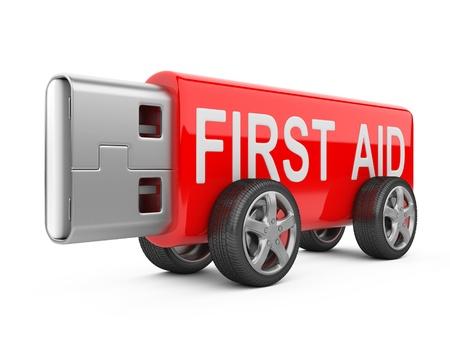 firstaid: Unidad de memoria flash USB en las ruedas aisladas sobre fondo blanco primer concepto de ayuda