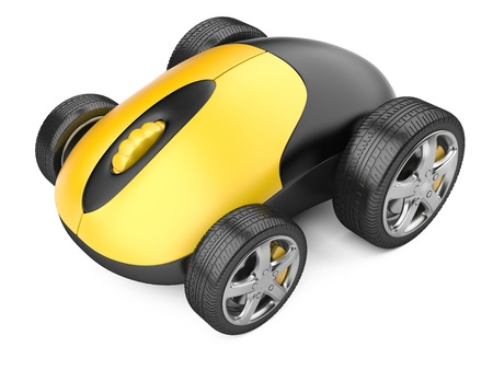 Computer mouse with wheels - 3d image isolated on a white 写真素材