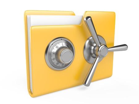 黄色のフォルダーと組み合わせてロックの 3 D イメージは、白で隔離されるデータのセキュリティの概念