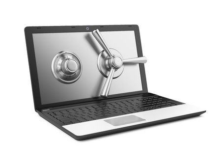 Data security concept  Laptop and combination Lock  3D image isolated on white photo