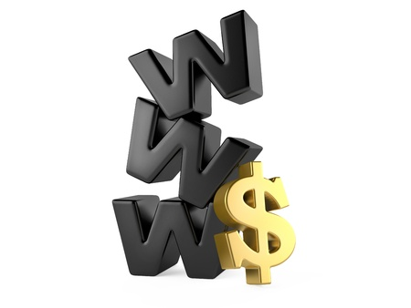 three dimensional shape: www and dollar sign, money online concept  3d illustration isolated on a white