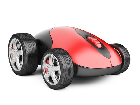 Computer mouse with wheels - 3d image isolated on a white photo