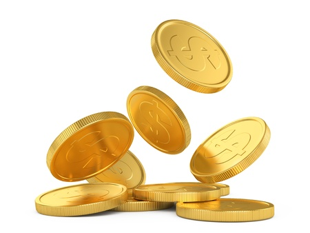 cash money: golden falling coins isolated on white background