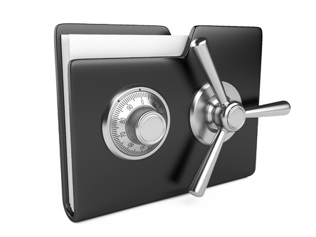 dir: Data security concept. Black folder and combination Lock. 3D image isolated on white