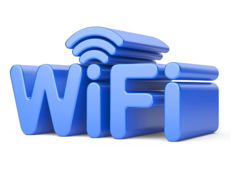 wireless lan: Wireless Network Symbol - WiFi. 3d illustration isolated on a white Stock Photo