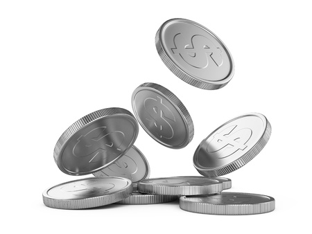 silver coin: silver falling coins isolated on white background