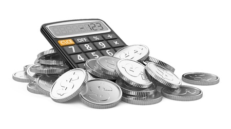 Coins and calculator isolated on white background photo