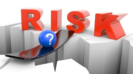 brink: Inscription RISK on the brink of a precipice Stock Photo
