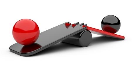 Two spheres on broken board - overweight concept Stock fotó - 21615935