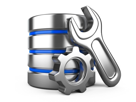 configuration: Database optimization and configuration concept. Database with metal cogwheel and spanner Stock Photo