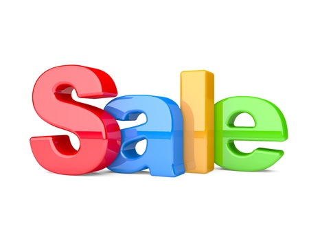 3d render of the text SALE. text isolated on a white background photo