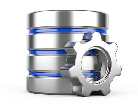 Database optimalisatie en configuratie concept. Database met metalen tandrad Stockfoto