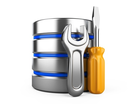 Database optimization and configuration concept. Database with metal cogwheel and spanner Stock Photo - 21616031