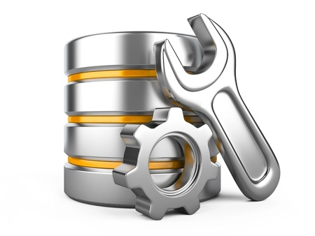 hardware configuration: Database optimization and configuration concept. Database with metal cogwheel and spanner Stock Photo