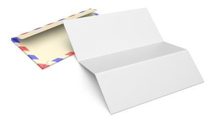 3d illustration of open blank airmail envelope isolated on a white background illustration