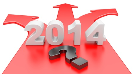 channelize: The concept of a choice of a way. 3D arrow with year 2014, isolated on a white background