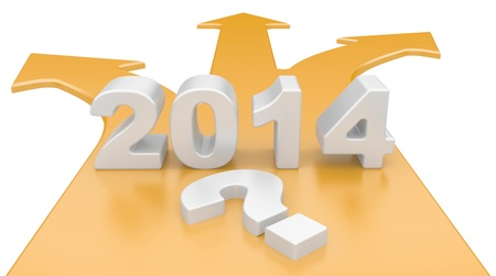 diversely: The concept of a choice of a way. 3D arrow with year 2014, isolated on a white background