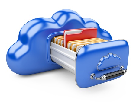 clouds: data storage on servers in cloud. 3D image isolated on white