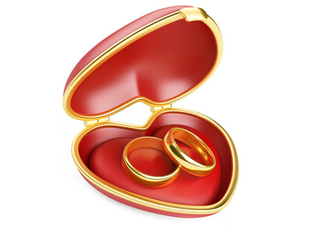 Gold wedding rings in box. Isolated on white 3d image photo