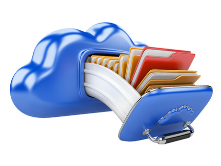 data storage on servers in cloud. 3D image isolated on white photo