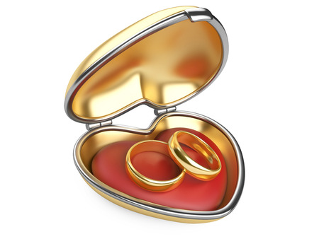 Gold wedding rings in box. Isolated on white 3d image Stock Photo - 23007081
