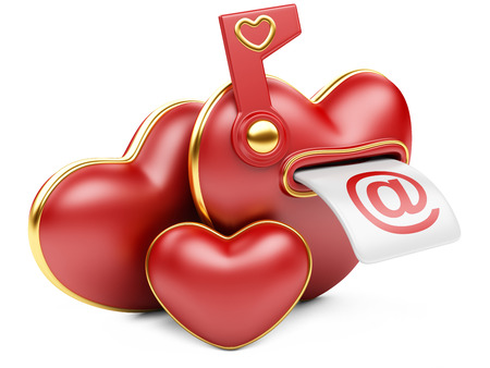 Mail box in the form of heart. 3d image isolated on white . photo