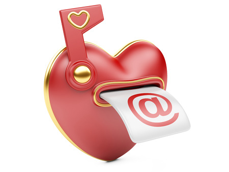 Mail box in the form of heart. 3d image isolated on white background. photo
