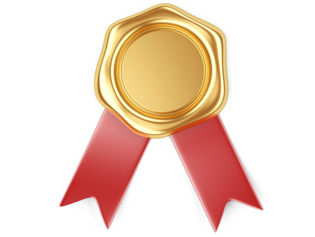 3d illustration Gold seal with red ribbon 写真素材