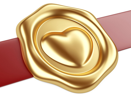 royal mail: 3d illustration Gold seal with heart stamp and red ribbon