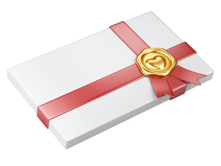 white box with gold sealing wax and red ribbon isolated on a white photo