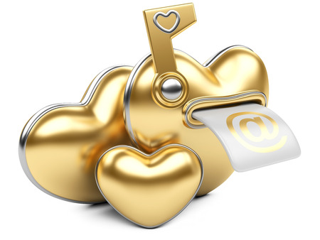 Gold box in the form of heart. 3d image isolated on white . photo