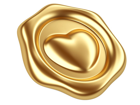 3d illustration Gold seal with heart stamp Stock fotó
