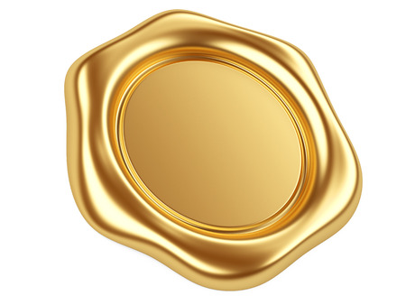 3d illustration gold seal isolated on a white  Standard-Bild