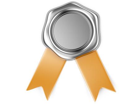 3d illustration Silver seal with orange ribbon  写真素材