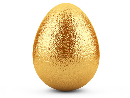 Golden easter egg isolated isolated on white . photo