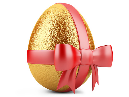 Golden easter egg with red ribbon isolated on white  photo