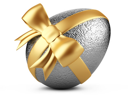 Silver easter egg with red ribbon isolated on white  Reklamní fotografie