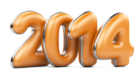 na: 3D 2014 year orange figures with silver edging isolated on na white background Stock Photo