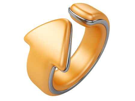 orange arrow bend in a ring. direction forward. 3d illustration isolated on a white background illustration