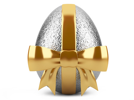 Silver easter egg with gold ribbon  Stock fotó