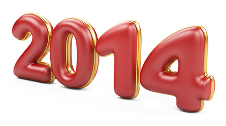 3D 2014 year red figures with golden edging  photo