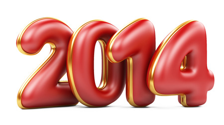 3D 2014 year red figures with golden edging isolated on na white background photo