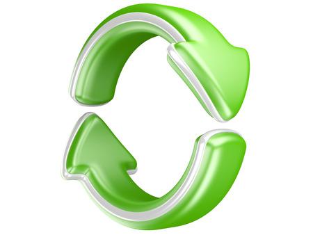 2 つの円形の矢印。リサイクル シンボルを白で隔離されます。3 D 矢印アイコン。